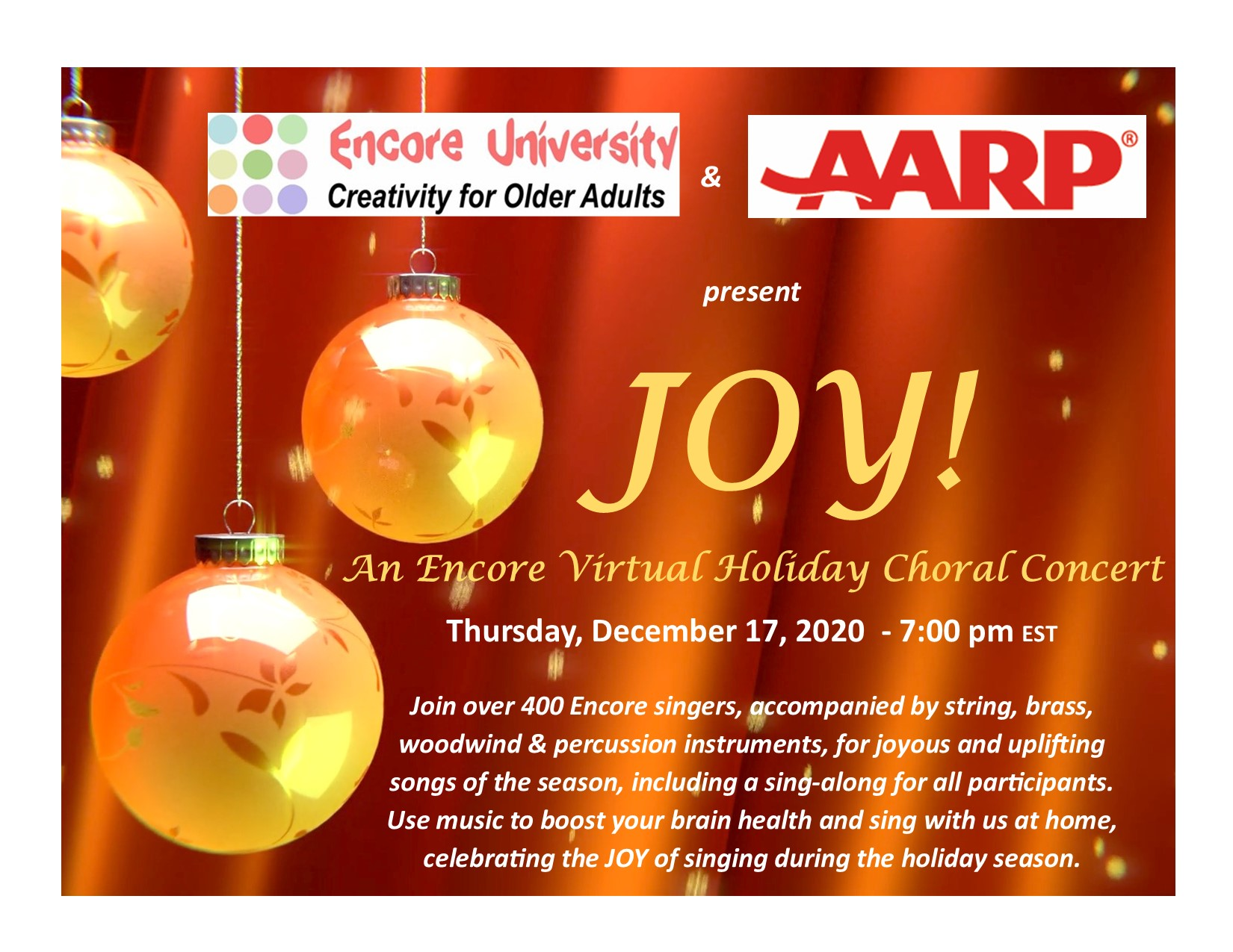 Encore AARP Virtual Concert Flyer Decembre 17 2020