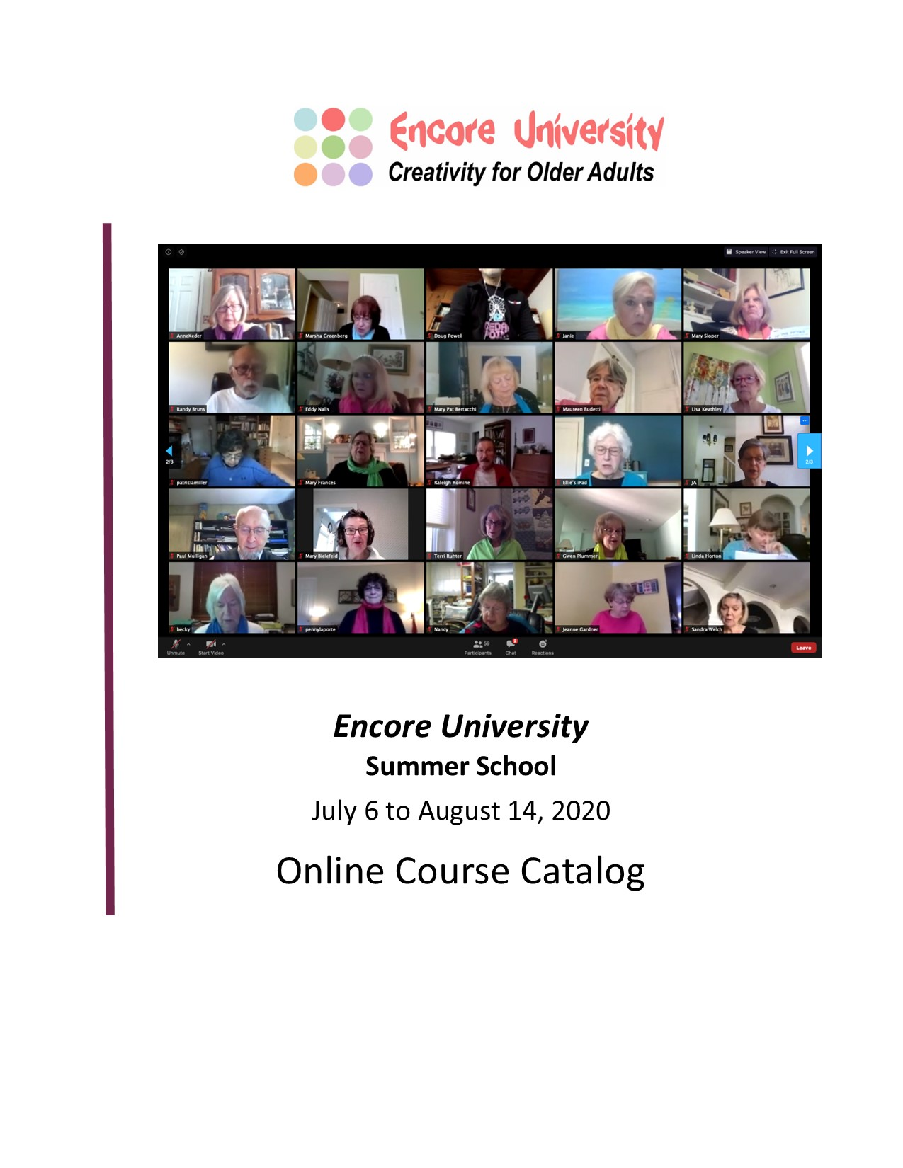 Encore University Summer 2020 Course Catalog Images